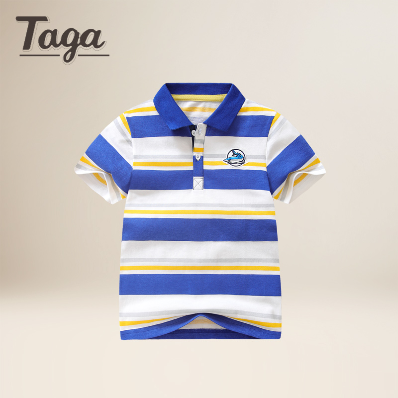 TAGA Kids Boys summer shirt children short sleeved POLO shirt boy striped shirt 2017 new all-match tide Beach Tees sports tops