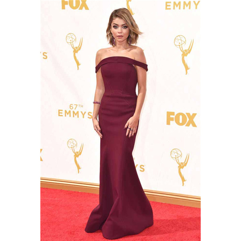 Elegant Burgundy Satin Celebrity Dresses Sarah Hyland Red Carpet 67th Emmy Awards Mermaid Formal Dress Party In Inspired