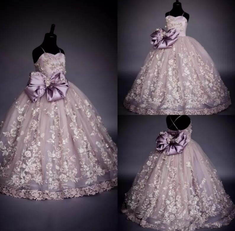 Luxury Princess Spaghetti Flower Girl Dresses with Bow Beads Pearls Kids Long Formal Dress Girl Pageant Gown
