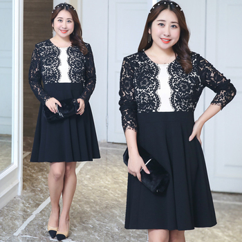 2018 Elegant Lace Dress O-neck Spring Summer Prom Maxi Vintage Party Dress Keen Length Plus Size Hollow Vestidos Black 5