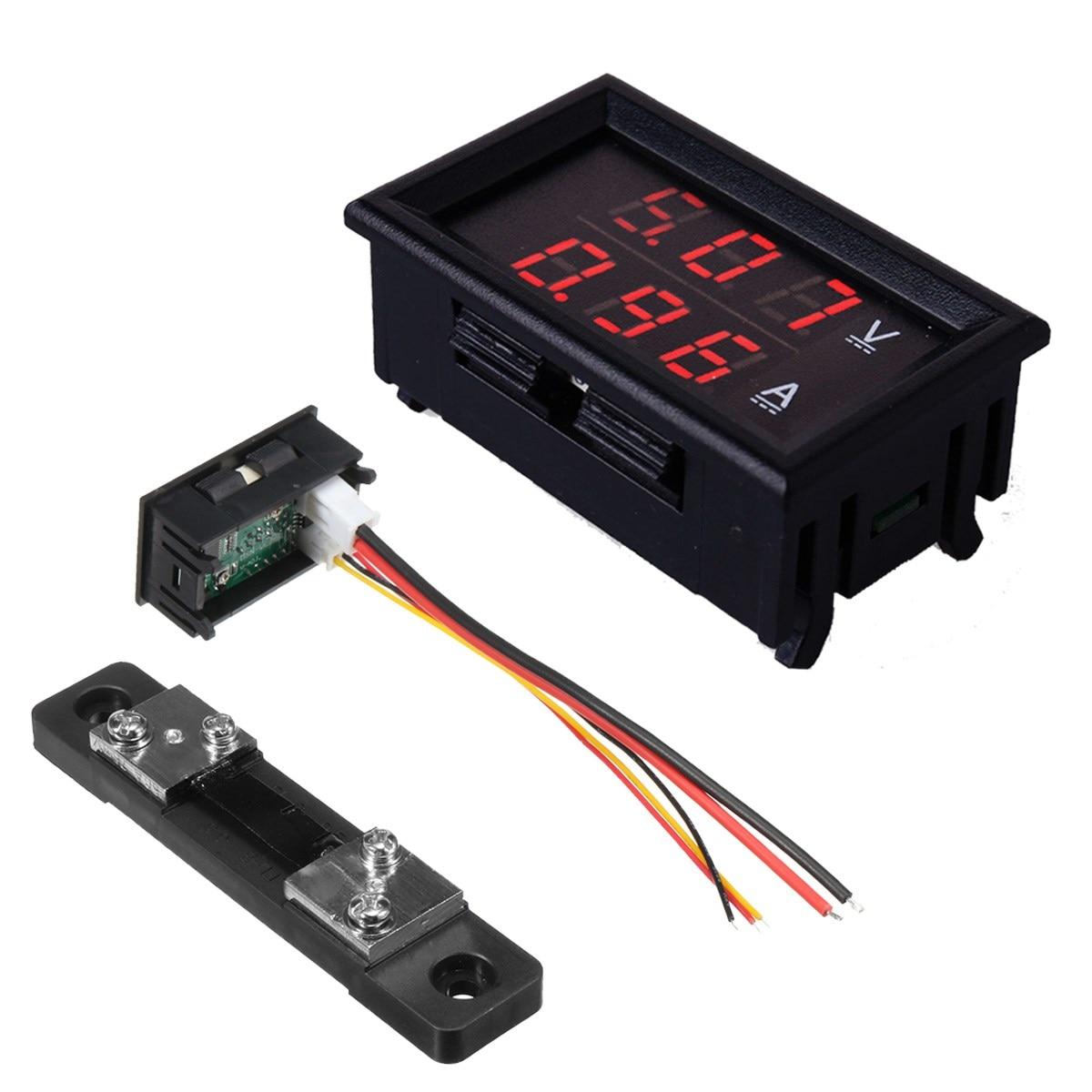 300V 50A DC Car Dual Voltmeter Ammeter LED Display Amp Volt Meter 12V And Shunt