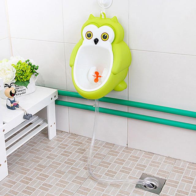 2016 Nueva Búho Lindo de Los Bebés Niños Pequeños Potty Training wc Urinario para Boy Pee Entrenador Baño Presente 1 gancho + 1 tubo