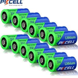Image 1 - 12Pcs PKCELL 3V 배터리 CR123A CR123 123A CR17345 KL23a VL123A DL123A 5018LC EL123AP Li MnO2 리튬 배터리 LED 손전등