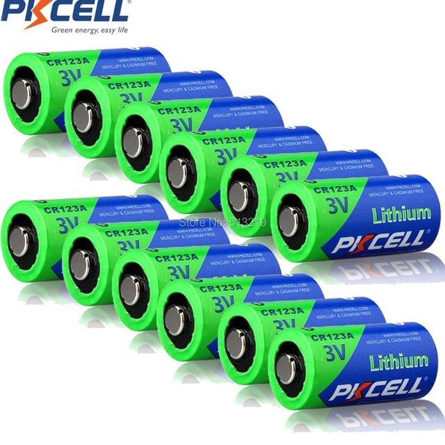12Pcs PKCELL 3V 배터리 CR123A CR123 123A CR17345 KL23a VL123A DL123A 5018LC EL123AP Li MnO2 리튬 배터리 LED 손전등