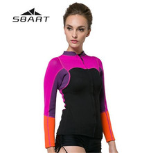 507fa39a05 SBART 2mm Neoprene Sunscreen Split-Type Jellyfish Rash Guard Diving Wetsuit  Tops Women Beach Surf Warm Jacket Swimwear