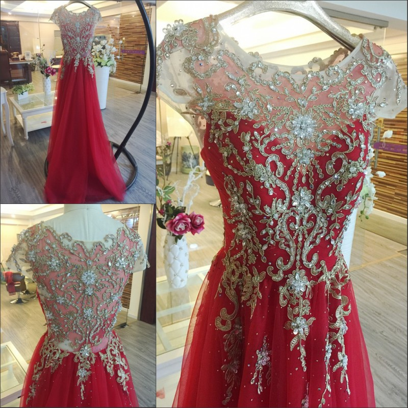 Floor Length 2017 A line Lace Beading Crystal Arabic Muslim Gowns ...