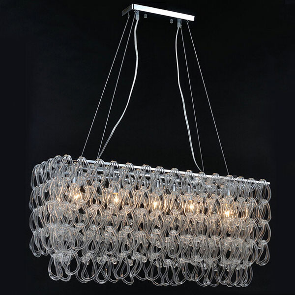 Modern Glass Chandelier Lustre Rectangle E14 LED Lighting Fixture for Living Room Bedroom Dining Room Suspension Pendant Lamp lustre shade round pendant lamp suspension e27 bulb light lighting for living dining room restaurant bedroom study