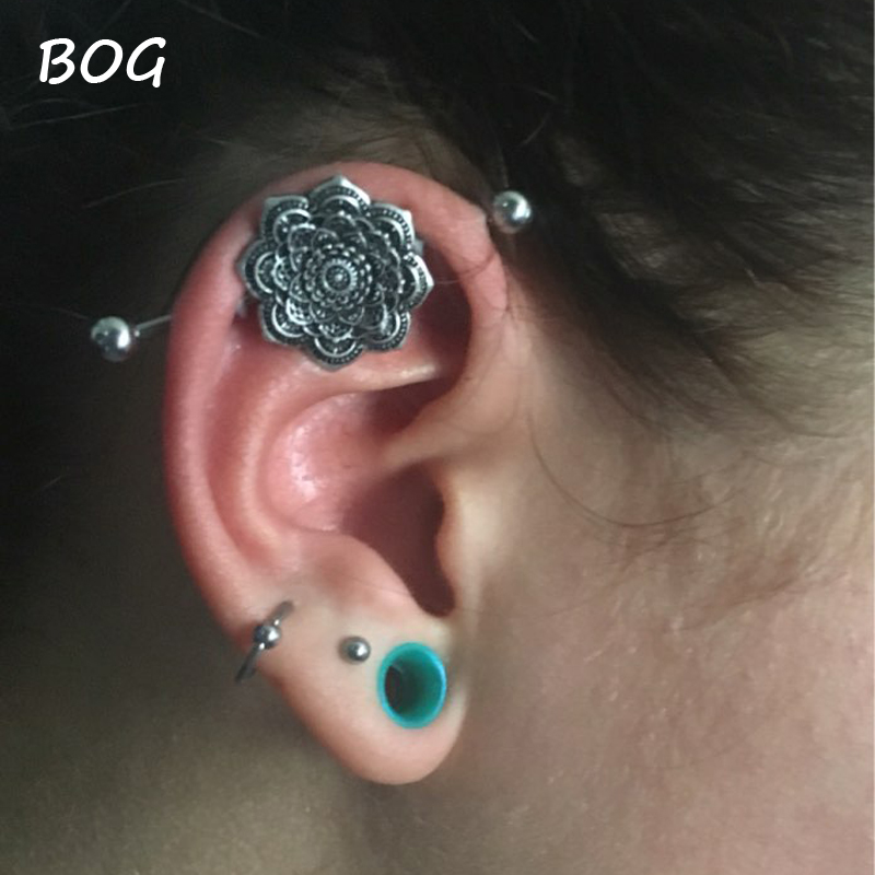 dd6c6fbdc Mandala Flower Ear Industrial Piercing With 3pcs Stainless Steel Barbells  Scaffold Ear Cartilage Helix Body Jewelry-in Body Jewelry from Jewelry ...