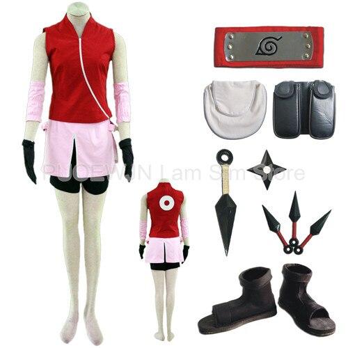 Hot Naruto Sakura Haruno Cosplay Costume Halloween Costume Full Set naruto sakura haruno cosplay boots shoes mp001015