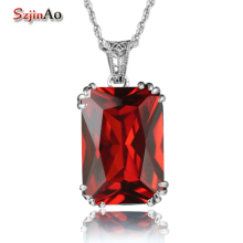 Szjinao Cute Genuine 100% 925 Sterling Silver Fine Jewellery Red Garnet Pendants Silver 925 Jewelry Women Necklace Wholesale