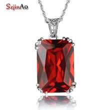 Szjinao śliczne oryginalne 100% 925 srebro Fine Jewelry Red Garnet wisiorki srebro 925 biżuteria kobiety naszyjnik hurt