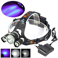 New XM-L T6+2XPE Purple UV LED 5000Lumen Rechargable Headlight Bike Bicycle Light headlamp For Hunting with Charger
