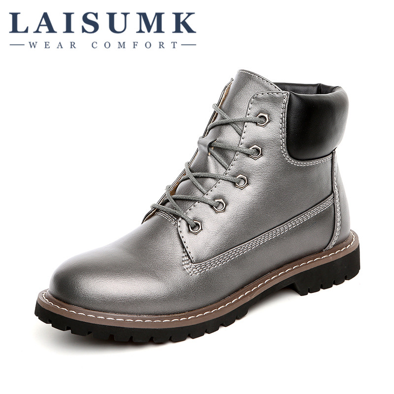2017 LAISUMK Fashion Autumn Womens Boots Dress Leather Short Ankle Boots Lace Up Black Sliver
