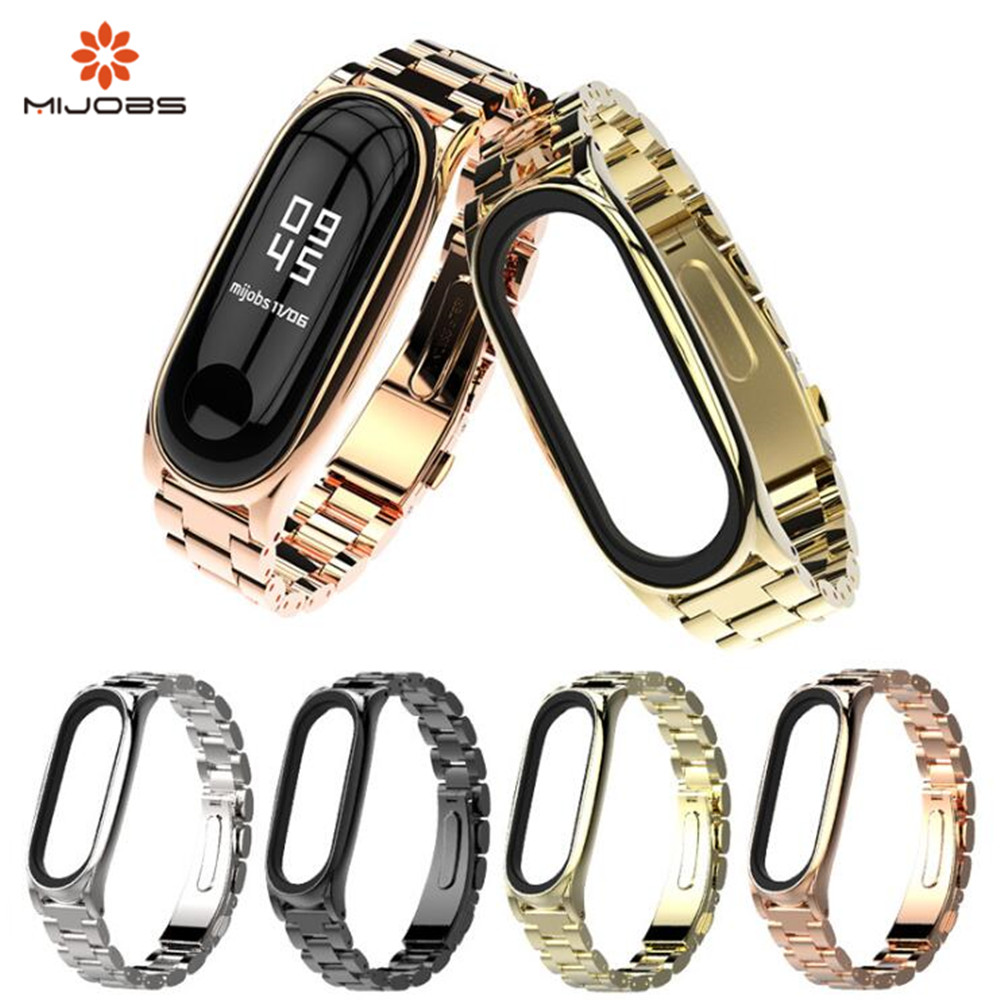 Mijobs new Mi Band 3 product Metal Strap Screwless Stainless Steel Bracelet Wristbands Replace Accessories For Xiaomi