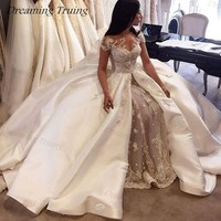 Chic Mermaid Lace Wedding Dresses With Satin Detachable Train Luxury Beaded Short Sleeve Dubai Bride Gown Robe De Mariee