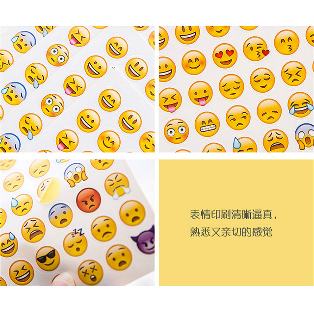 (1Sheet/Sell) Emoji Smile Face Diary Stickers Posted It Kawaii Planner Memo Scrapbooking Sticker Stationery Child Toy Stickers