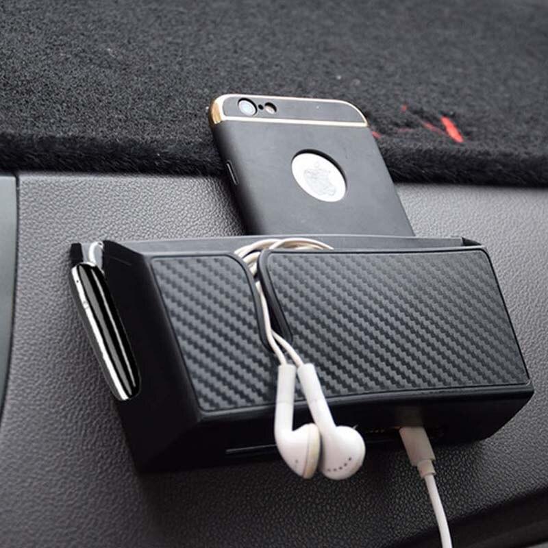 Carbon Faser Stil Auto Lagerung Box Telefon Halter Weiche PVC Material Auto Organizer Tasche Karte Halter Münze Halter Verstauen Aufräumen