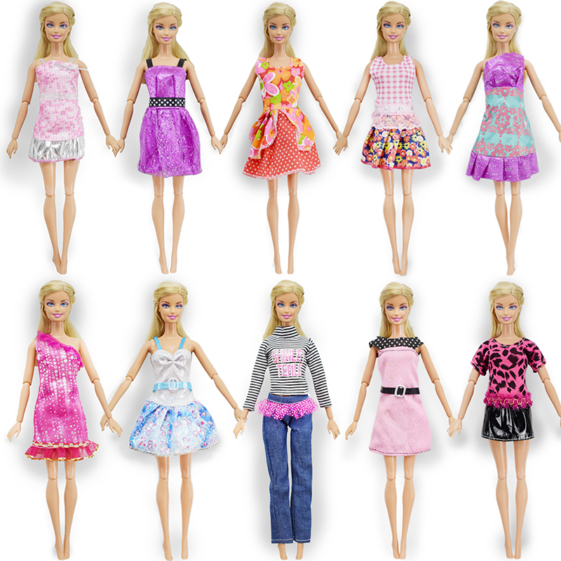 Random 10 Pcs Mix Barbie Doll Dress + 10 Pair Shoes Beautiful Fashion Party Outfit Clothes For Barbie Dolls Girl's Gift Toys random 10 items   fashion 5 outfit   5