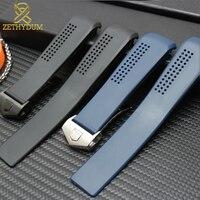 Резиновый ремешок для часов 20 мм силиконовый браслет ремешок для часов 22 мм черные синие наручные часы ремешок для часов с отверстием для во...