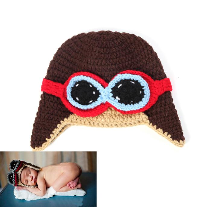 Hot Sale Crochet Baby Pilot Hats Knitted Infant Boys Winter Earflap Hat Beanie Crochet Baby Hat Caps 1pc MZS-14030