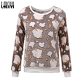Laisiyi Free Shipping 2016 Women Hoody Spring Autumn Long Sleeve Casual Sweatshirts Cute Print Hoodies Moleton Feminine SW1103-1