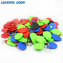 LUCKING DOOR 100pc/lot 13.56MHz IC M1 Keyfobs Tags Access Control RFID Key Finder Card Token Attendance Management Keychain