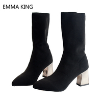 Fashion Knitting Elastic Ankle Boots Socks Chunky High Heels 5 8 cm Stretch Shoes Women Autumn Pointed Toe Ankle Boots
