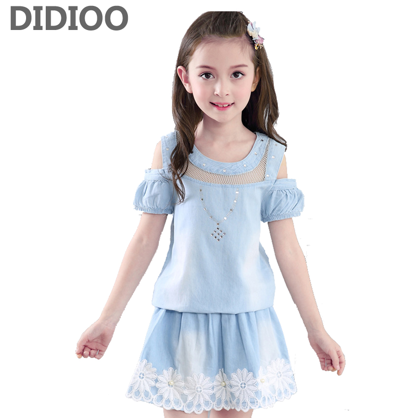 Children Clothing Sets For Girls Summer Sleeveless Denim Lace Tops & Short Pants Fashion Girl Clothes Set For 2 4 6 8 10 12 Y платье vero moda vero moda ve389ewujy59