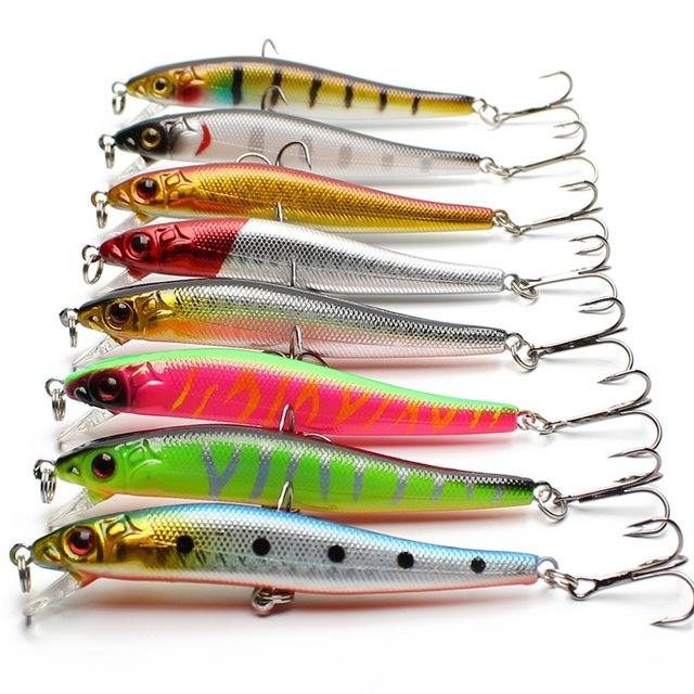 Amlucas Minnow Fishing Lure Hard Artificial Bait 3D Eyes 8cm 5.9g Wobblers Crankbait Topwater Plastic Baits Fish Pesca WW1098Y   5