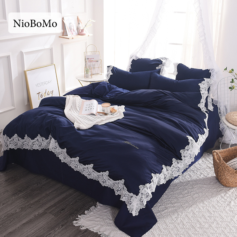 Niobomo Luxury Lace Rim Blue Silk Bedding Set For Bedroom Home Textiles Silky Duvet Cover Comfortable Bed Set With Flat Sheet