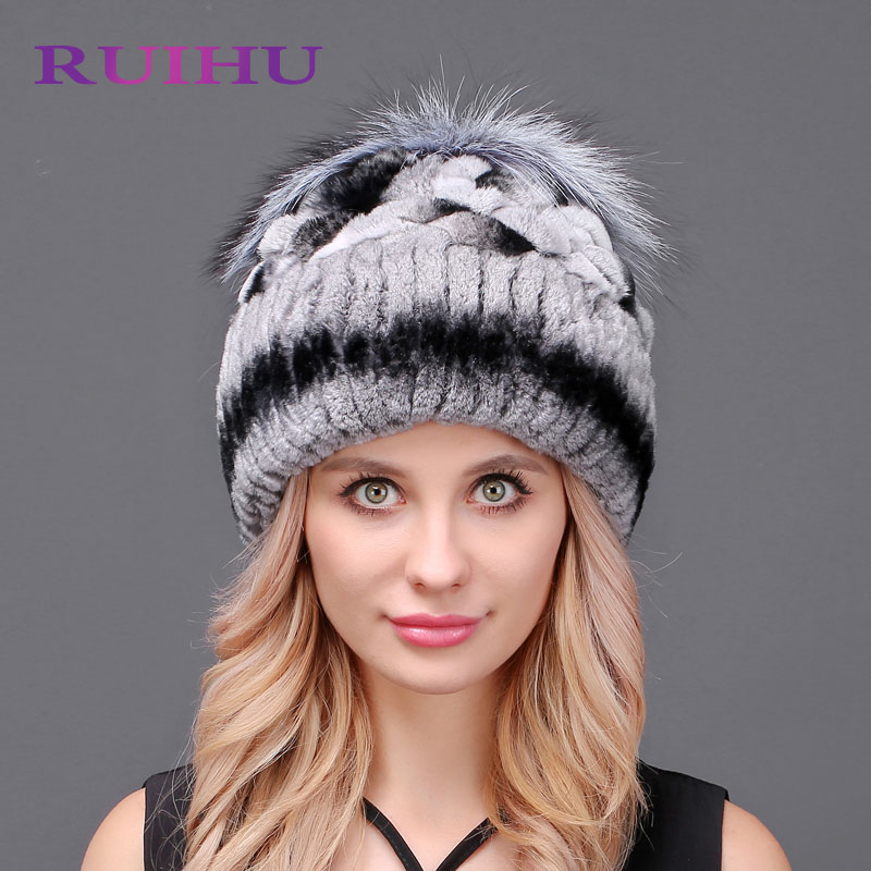 RUIHU Mink And Fox Fur Ball Cap Pom Poms Winter Hat For Women Girl'S Hat Knitted Beanies Cap Brand New Thick Female Cap RHM610 real mink fur hat for women winter knitted mink fur beanies cap fox fur pom poms brand new thick female cap