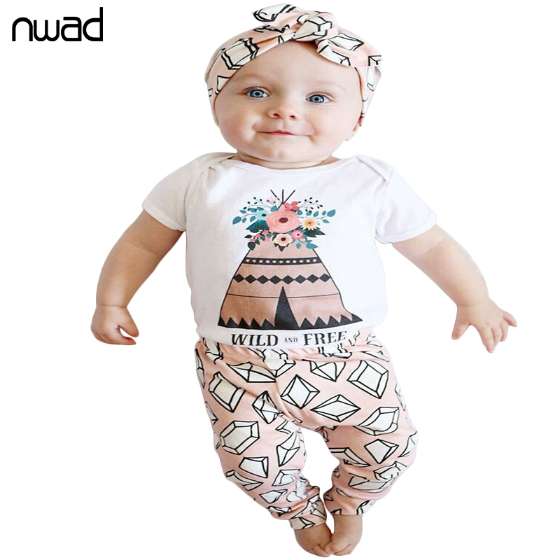 NWAD Baby Girls Clothes Casual Clothing Sets Newborn Baby Girl Printing Bodysuit Tops+Long Pants Outfit Clothes Set FF351