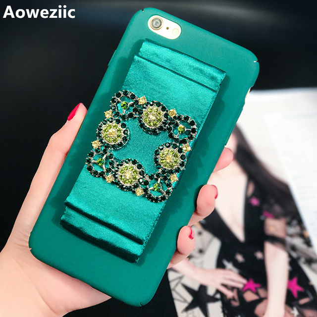 new product 695c4 c5c74 US $8.08 9% OFF|Aoweziic Blue sea legend satin ribbon For iPhoneX 7 6S  8plus phone case rhinestones buckle all inclusive party hard shell tide-in  ...
