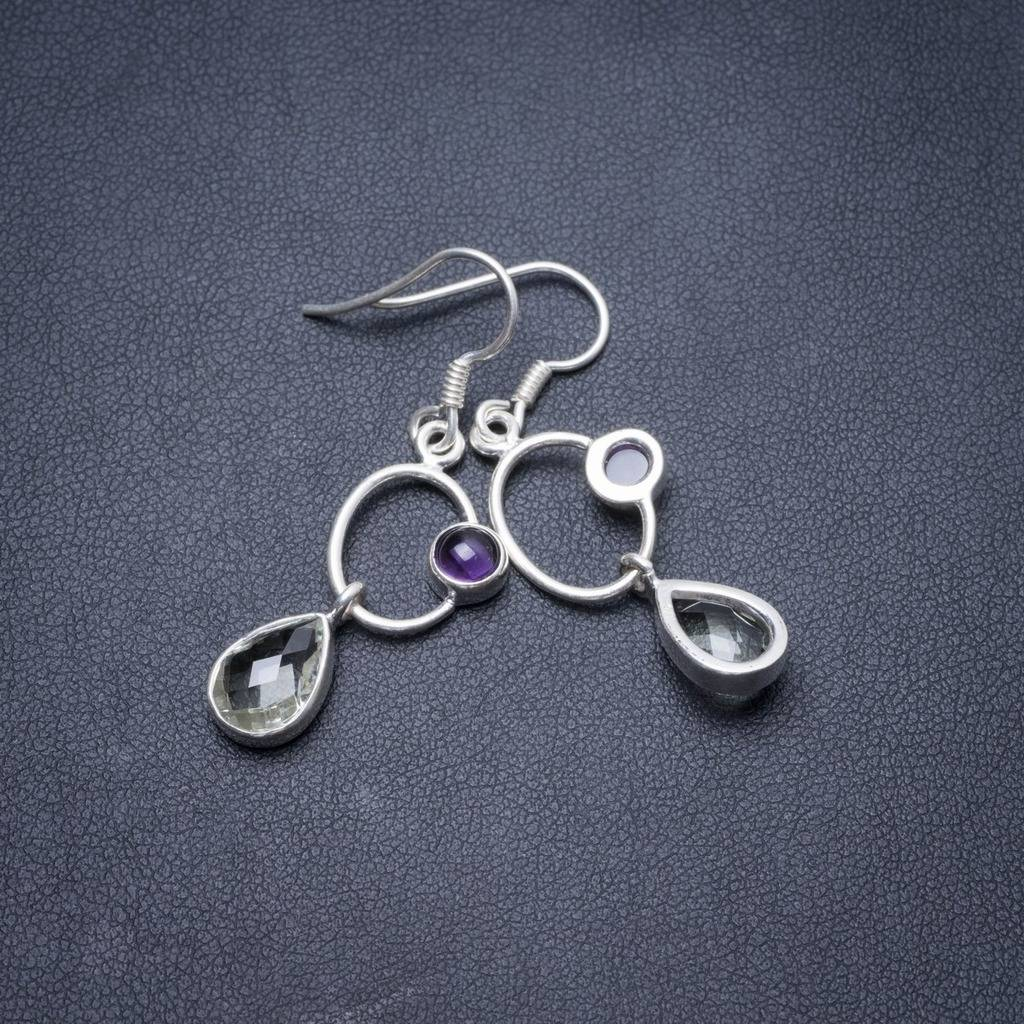 Natural Green Amethyst and Amethyst Handmade Unique 925 Sterling Silver Earrings 1.5