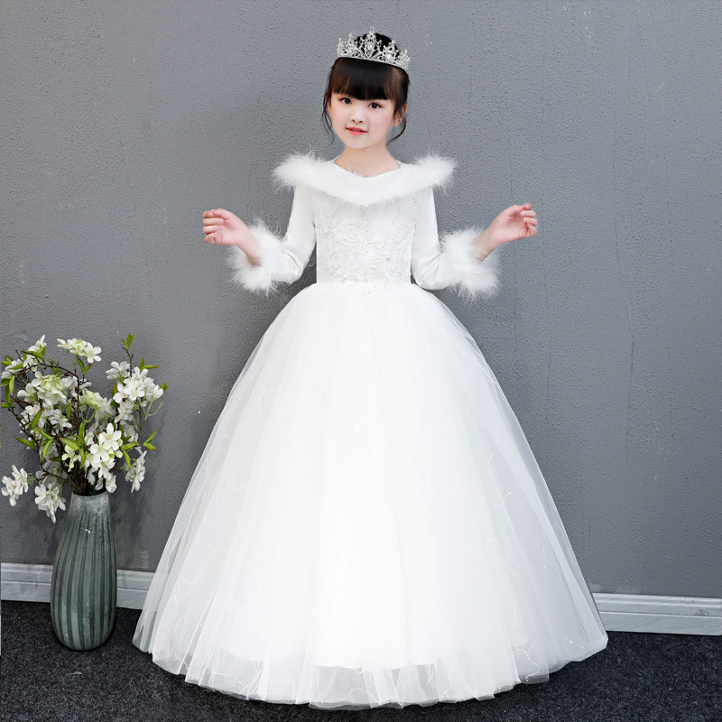New Autumn Winter Girls Children Wedding Birthday Puffs Princess Lace Prom Dress Kids Teens Host Catwalk Evening Party Dress 2018 winter girls fancy mini floral party wear clothing for children sleeveless lace princess wedding dress prom dress for teens