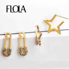 FLOLA Safety Pin Earrings Gold Punk Zircon Star Tiny Stud Aretes De Moda Accesories Woman Cheap ersq31
