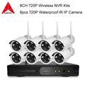 Sistema De CFTV 720 P 8ch NVR kit HD Sem Fio IR Ao Ar Livre Câmera de Visão noturna IP wifi Camera kit Sistema de Segurança Em Casa vigilância