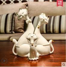ceramic flowers cat maneki neko home decor crafts room decoration kawaii ornament porcelain animal figurines fortune
