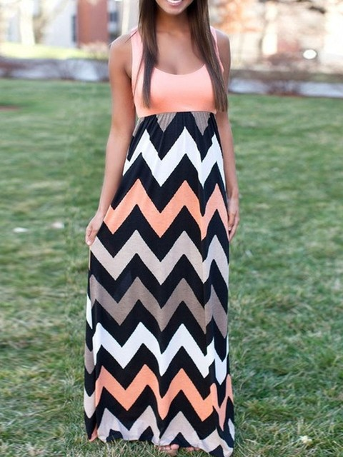 2017 Women Maxi Skirts Contrast Chevron Tank Sleeveless High Waist Casual Summer Style Skirts H788