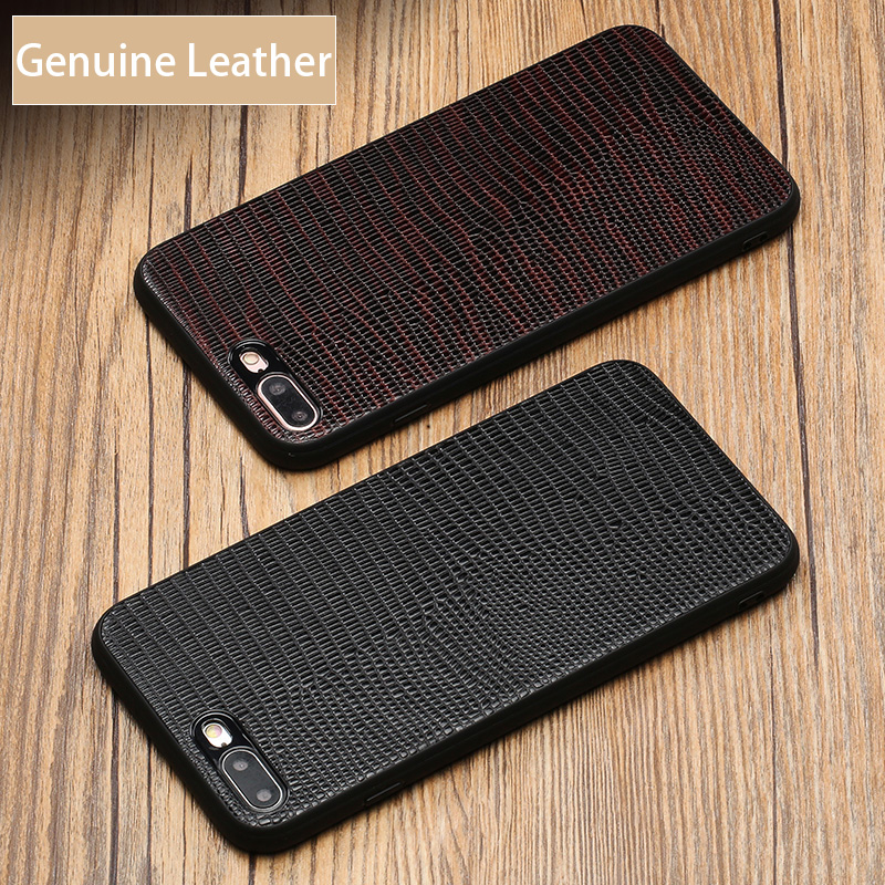 Genuine Leather 360 All inclusive phone case For iPhone 8 Plus case Lizard Skin texture back cover For 5 5S 6 6S 6P 6SP 7 8 8P X