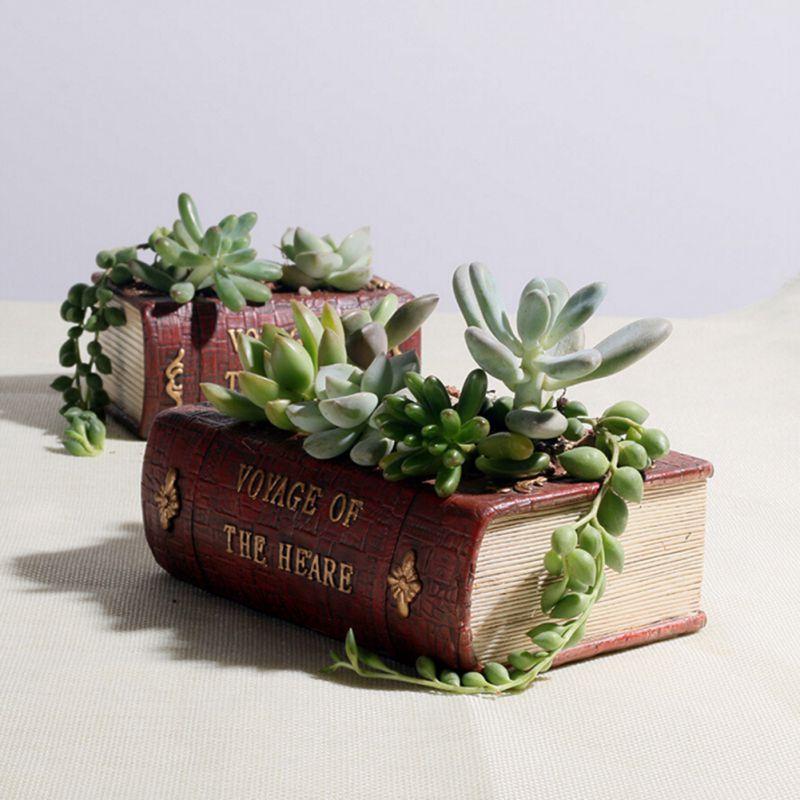 Украшение дома Винтаж смолы Книга цветочные горшки суккулентов горшки, кашпо Box Контейнер
