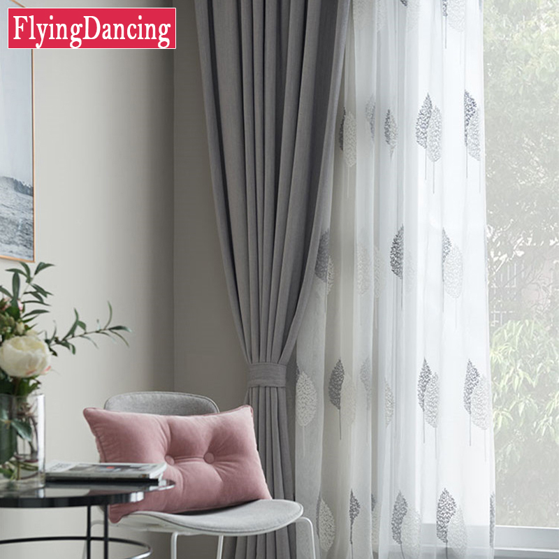Captivating Nordic Grey Solid Curtains For Bedroom Modern Living Room Curtains White  Leaves Embroider Tulle Curtains Drapes Window Treatment In Curtains From  Home ... Part 26