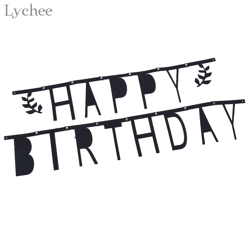 Lychee 1 Set Happy Birthday Garland Flags Black Felt Letter Bunting Banners Baby Shower Birthday Party Decoration