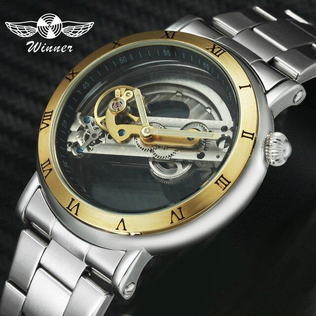 Mannen Retro Casual Mechanisch Horloge Zilver Roestvrij Stalen Band Mannelijke Automatische Klok Transparante Dial Minimalistische Gold Bridge