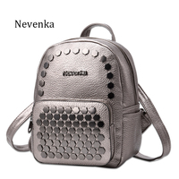 New Fashion Preppy Style Backpack PU Leather Zipper Student Backpacks Shoulder Bag Casual Iron Decorate Backpacks