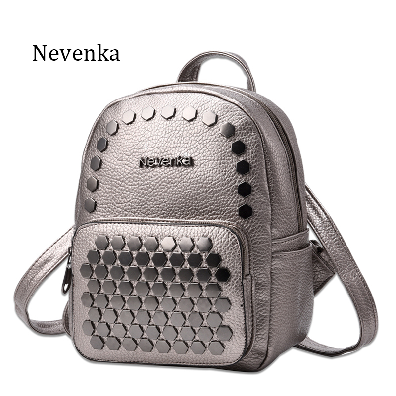 Nevenka Fashion Women Bag School Lady Backpack PU Leather Bags Student Shoulder Bag Casual Female Backpacks Softback Bags Sac