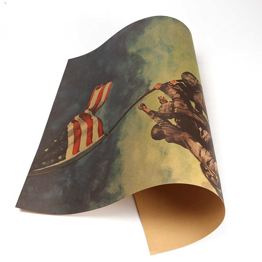 Dünya Savaşı II Amerika Ünlü Fotoğraf Kraft Kağıt Afiş Yükselterek Bayrağı Iwo Jima Duvar Sticker 51.5X36cm
