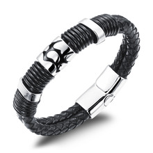 Cool Man Double Layer Genuine Leather Bangles Rock Man Stainless Steel Men Jewelry Bracelets 14MM Width
