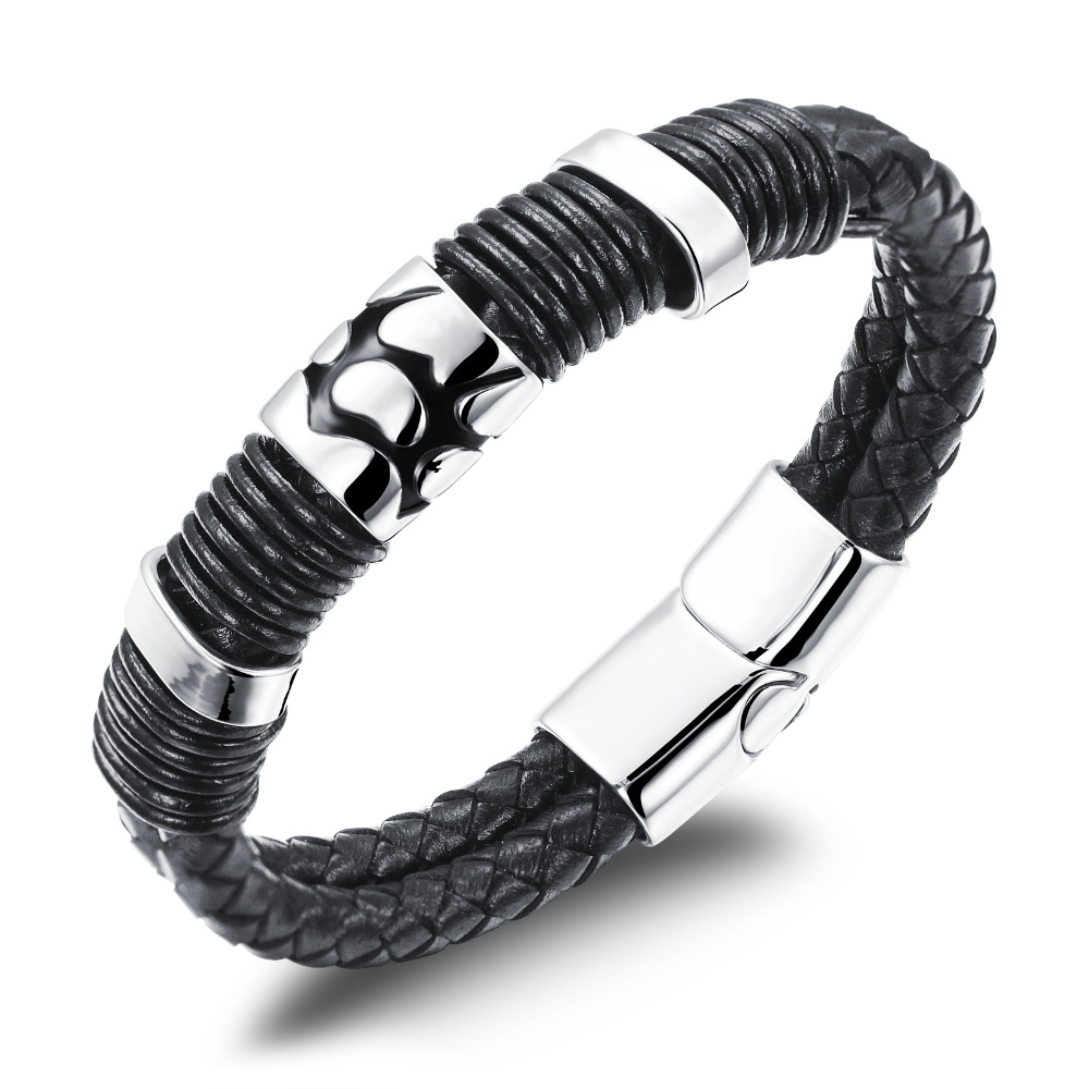 Cool Man Double Layer Genuine Leather Bangles Rock Man Stainless Steel font b Men b font