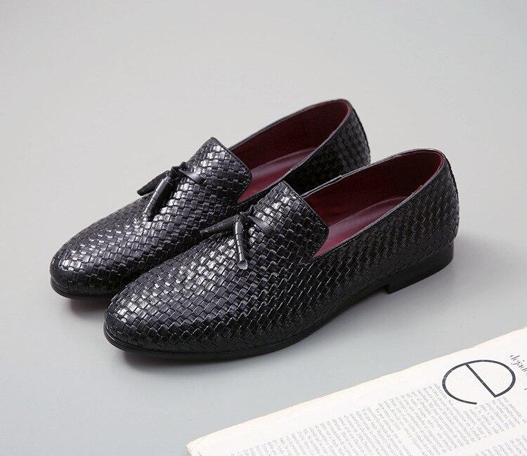 Кожаные тканые туфли; мужские оксфорды с острым носком; модельные туфли; мужские итальянские лоферы; официальная Свадебная обувь; zapatos hombre; повседневная обувь - Цвет: 1
